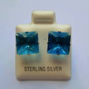 Sterling silver square Princess cut Blue Zircon Cubic Zirconia Stud earrings